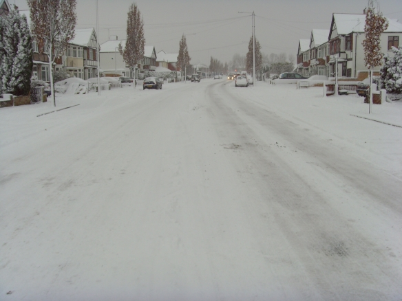 Fullwell Avenue empty in the snow