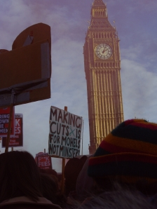 Placards in front of Big Ben